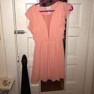 Peach Mesh Detail Dress